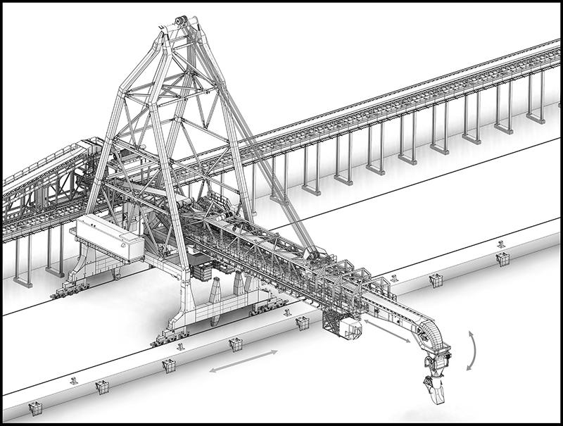Drawing of Siwertell ship loader