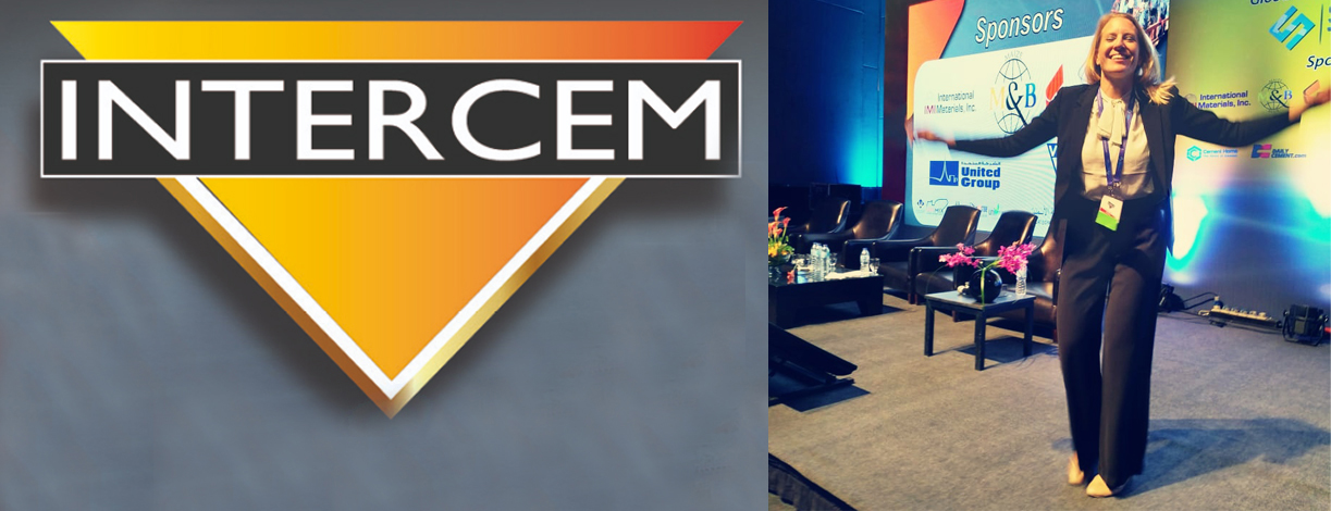Intercem logo and Siwertell presenter on stage
