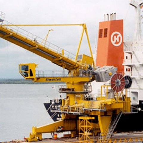 Yellow Siwertell Ship unloader for grain, Colombia