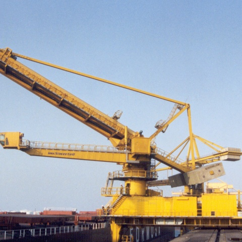 Yellow Siwertell Ship unloader for coal, Taiwan
