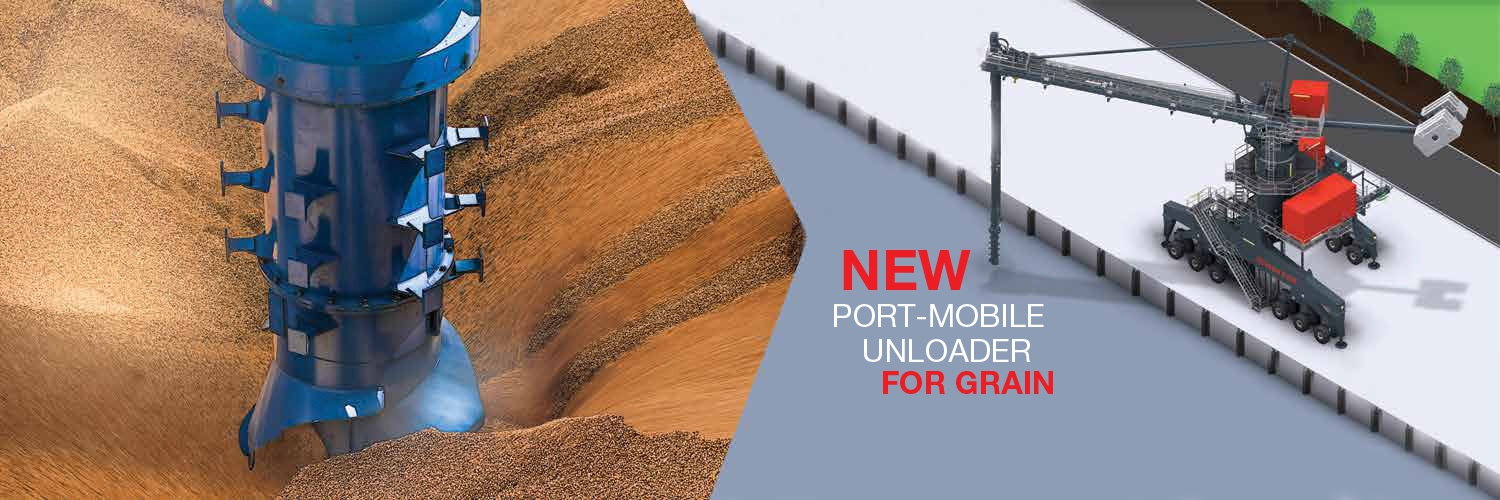 Inlet feeder unloading grain on left and 3D image of port-mobile unloader on right