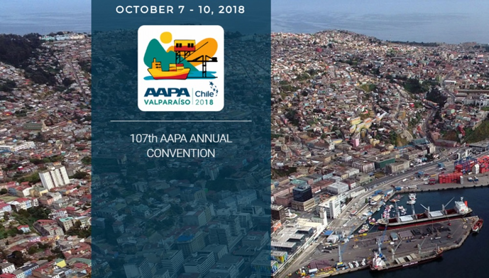 AAPA logo and text with air view of Valparaiso behind