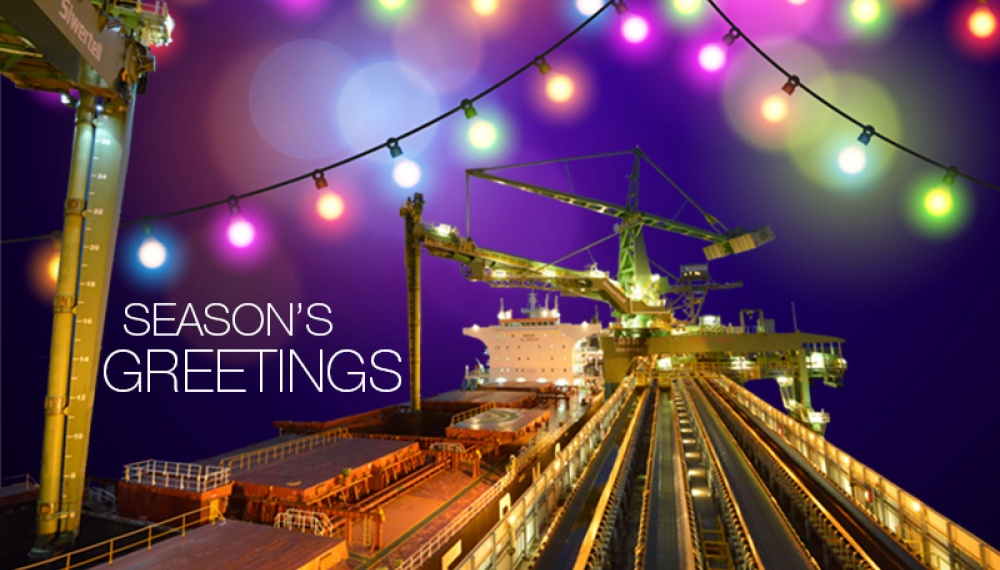 Season's Greetings from Siwertell with shipunloaders and christmas lights