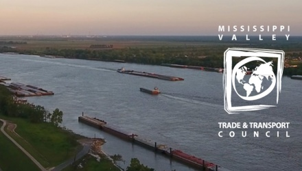 Mississippi river from above with MVTTC logo to the right