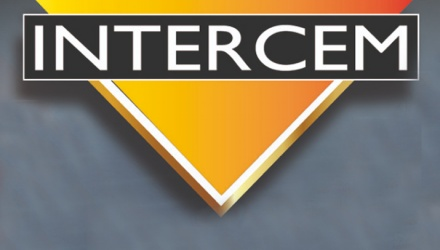 Intercem logo on gray background
