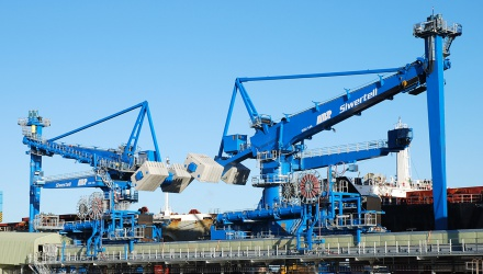 Blue Siwertell Ship unloader for coal and biomass, United Kingdom