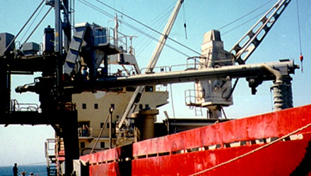 Siwertell Ship loader in operation