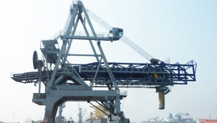 Blue Siwertell ship loader for Iron ore, India