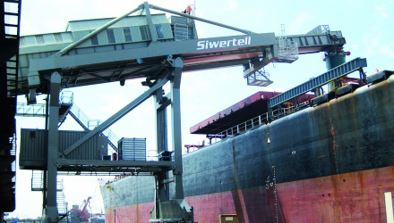 Grey Siwertell Ship loader in operation