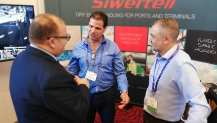 Siwertell representatives in stand at Intercem exhibition