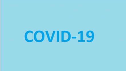 Covid19 text on blue background
