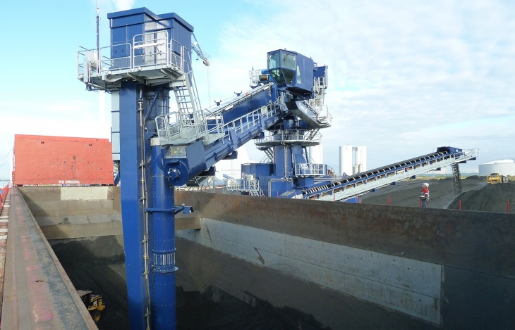 A Siwertell combined coal and biomass ship unloader unloading a ship.